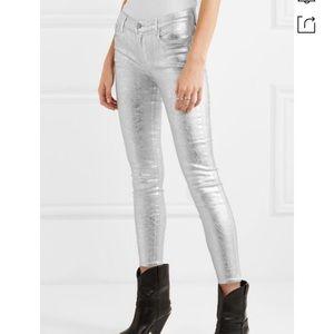 J Brand 835 Metallic coated mid rise skinny jeans